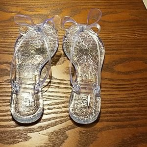 Clear slides with a bow
